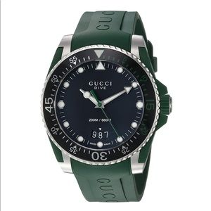 Gucci Stainless Steel and Rubber Casual Green